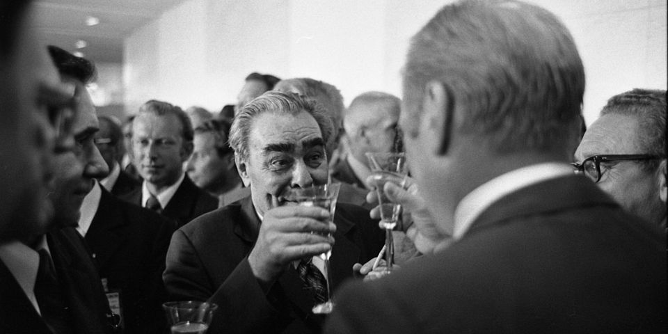 President Gerald R. Ford and Soviet General Secretary Leonid Brezhnev Raise Their Glasses in a Toast Following the Signing of the Final Act of the Conference on Security and Cooperation in Europe (CSCE), in Helsinki, Finland